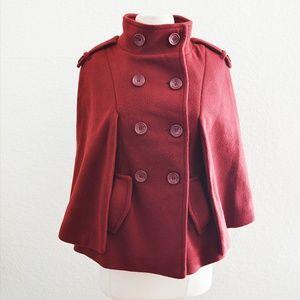 Papaya Red Cape Jacket Coat Size S/M